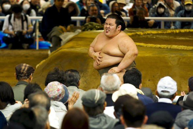 "A sumo wrestler reacts after he was thrown out of the rink during a show fight during the ""Honozumo"" ceremonial sumo tournament at the Yasukuni Shrine in Tokyo April 3, 2015. (Photo by Thomas Peter/Reuters)"