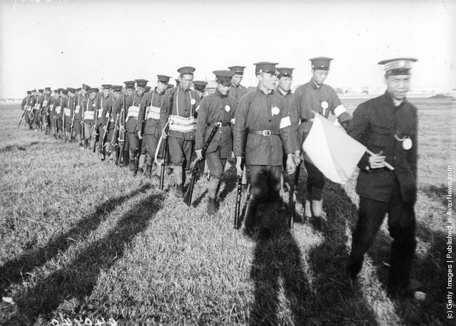 Recruits in Imperial uniform from one of the colleges who have joined the Revolutionists during the Chinese revolution, 1912