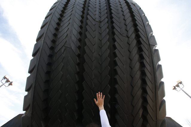 A visitor reaches for the Giant Uniroyal Tire, Wednesday, May 20, 2015, in Allen Park, Mich. On Wednesday the owners allowed guests inside the 80-foot-high tire during a special half-century celebratory event. The tire has stood alongside Interstate 94 since 1965, a year after it debuted at the New York World's Fair. (Photo by Paul Sancya/AP Photo)