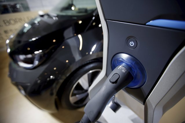 The plug-in charger for a BMW i3 electric car is pictured during the Auto China 2016 in Beijing, China, April 25, 2016. (Photo by Jason Lee/Reuters)