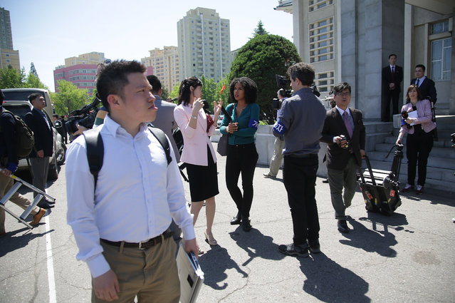 Foreign journalists leave a venue after being told that coverage plans had changed until further notice on Sunday, May 8, 2016, in Pyongyang, North Korea. (Photo by Wong Maye-E/AP Photo)