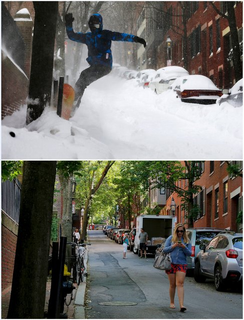 A combination picture shows Will Adam, 14, snowboarding down a street on Beacon Hill during a large winter blizzard in Boston, Massachusetts, United States January 27, 2015 (top), and a woman looking at her phone as she walks down the same street June 13, 2015. (Photo by Brian Snyder/Reuters)