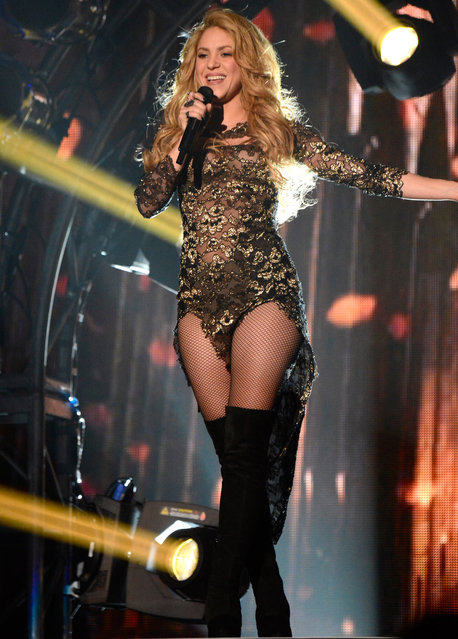 Singer Shakira performs onstage during the 2014 Billboard Music Awards at the MGM Grand Garden Arena on May 18, 2014 in Las Vegas, Nevada. (Photo by Kevin Mazur/Billboard Awards 2014/WireImage)
