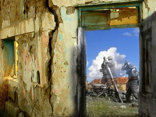 Ruins: A Canadian mortar team fire on Ortona. Italy 1943 – 2014. (Photo by Adam Surrey)