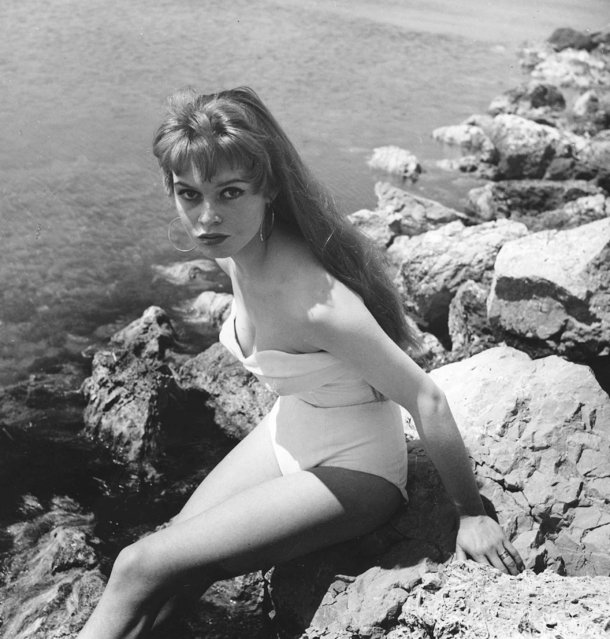 Young Brigitte Bardot making her debut in a bathing suit during the 6th International Cannes Film Festival in Cannes, France on April 1, 1953. (Photo by LIDO/Rex Features/Shutterstock)