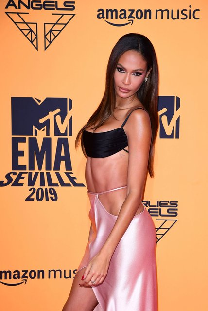 Supermodel Joan Smalls attending the MTV Europe Music Awards 2019, held at the FIBES Conference & Exhibition Centre of Seville, Spain on November 03, 2019. (Photo by PA Wire Press Association)
