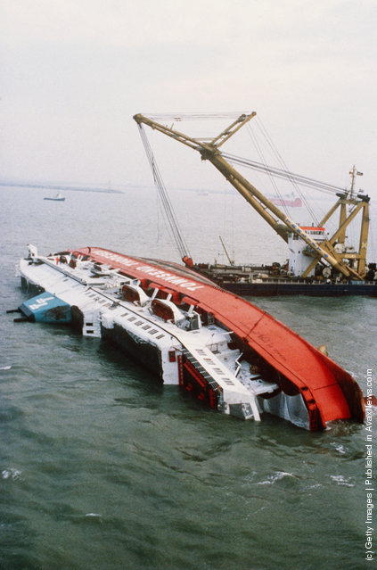 The wreck of the Herald of Free Enterprise roll-on roll-off car and passenger ferry two days after it capsized near Zeebrugge on the 6th of March 1987, killing 193 people