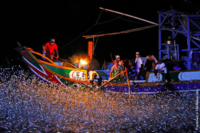 """""""Sulfuric Fire Festival"""", honorable mention in Places category. Once a year, Formosa fishermen's unique sulfuric fire fishing ritual is handed down from generation to generation. Location: Taipei"""