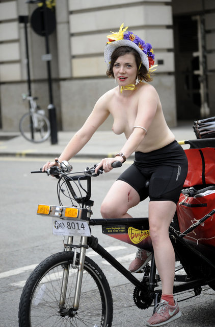 Naked Bike Ride, London, Britain, 14 June 2014. (Photo by Perry Smylie/Rex Features)