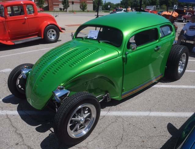 This 1972 VW Beetle was one of over 150 cars at the eighth annual historic U.S Route 40 Mini-Nationals car show held on Sunday at Tecumseh high school. (Photo by Marshall Gorby/AP Photo)