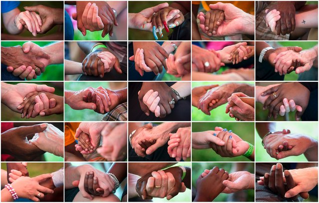 Combination picture shows local residents and volunteers from nearby churches holding hands while connecting and praying with one another during a community event hosted by the Convoy of Hope in Forestwood Park in Ferguson, Missouri, United States, July 25, 2015. (Photo by Adrees Latif/Reuters)