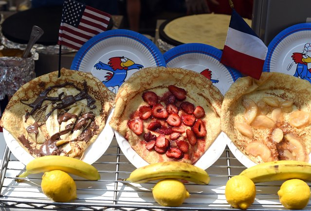 Crepes are displayed during the French Institute Alliance Francaise's street fair to celebrate Bastille Day in New York on July 13, 2014. (Photo by Timothy A. Clary/AFP Photo)
