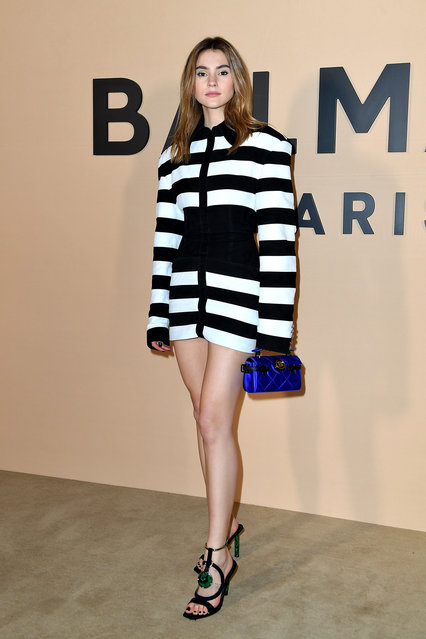 Suki Waterhouse attends the Balmain Menswear Fall/Winter 2020-2021 show as part of Paris Fashion Week on January 17, 2020 in Paris, France. (Photo by Jacopo Raule/Getty Images)