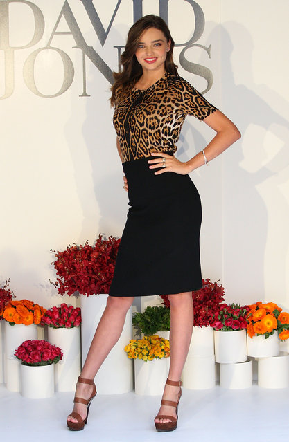 MELBOURNE, AUSTRALIA - AUGUST 10:  Miranda Kerr poses at the David Jones Spring/Summer fashion preview on Burke Street on August 10, 2011 in Melbourne, Australia.  (Photo by Lucas Dawson)