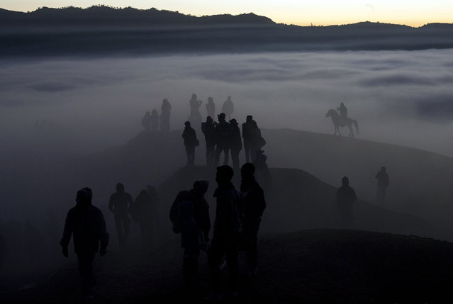 Indonesian villagers walk to the crater during the Kasodo ceremony at Mount Bromo, Probolinggo, Indonesia, August 12, 2014. (Photo by Fully Handoko/EPA)
