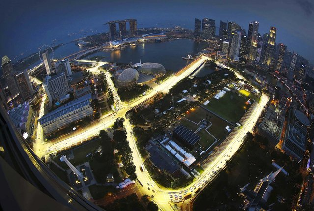 The Singapore Grand Prix's Marina Bay City Circuit as seen a from a hotel suite in The Stamford in Singapore, on September 17, 2012. The Formula One Grand Prix race was scheduled for September 23. (Photo by Wong Maye-E/Associated Press)