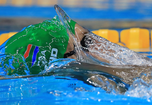 2016 Rio Olympics, Swimming, Preliminary, Men's 100m Backstroke, Heats, Olympic Aquatics Stadium, Rio de Janeiro, Brazil on August 7 2016. Christopher Reid (RSA) of South Africa competes. (Photo by Dominic Ebenbichler/Reuters)