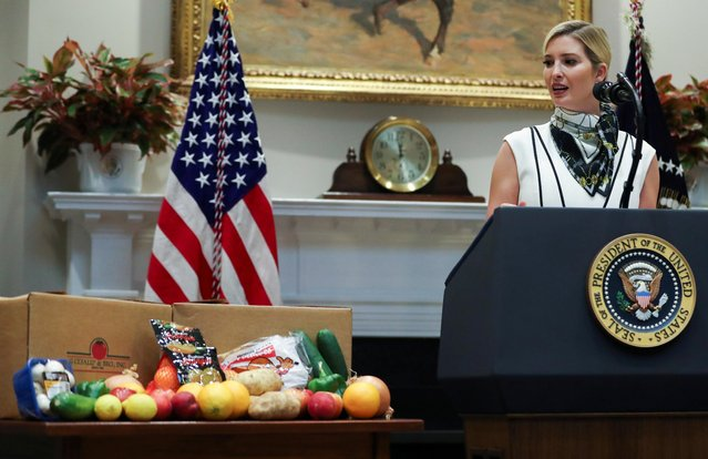White House senior adviser Ivanka Trump looks over at a table of produce while speaking about the nation's food supply chain during a coronavirus disease (COVID-19) pandemic response event in the Roosevelt Room at the White House in Washington, U.S., May 19, 2020. (Photo by Leah Millis/Reuters)