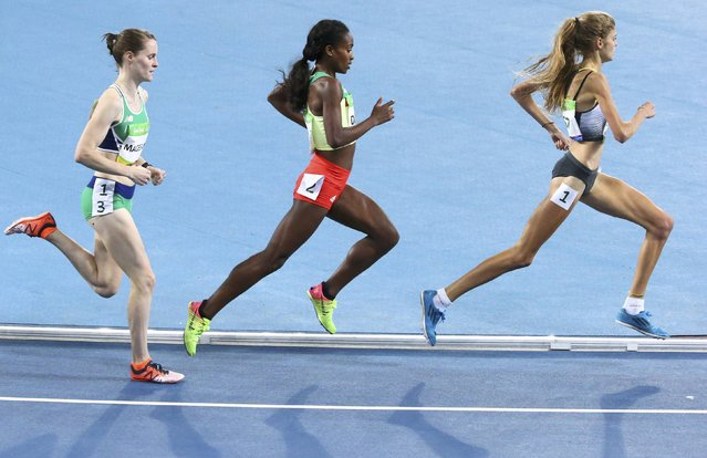 2016 Rio Olympics, Athletics, Preliminary, Women's 1500m Round 1, Olympic Stadium, Rio de Janeiro, Brazil on August 12, 2016. Ciara Mageean (IRL) of Ireland, Genzebe Dibaba (ETH) of Ethiopia and Konstanze Klosterhalfen (GER) of Germany compete. (Photo by David Gray/Reuters)