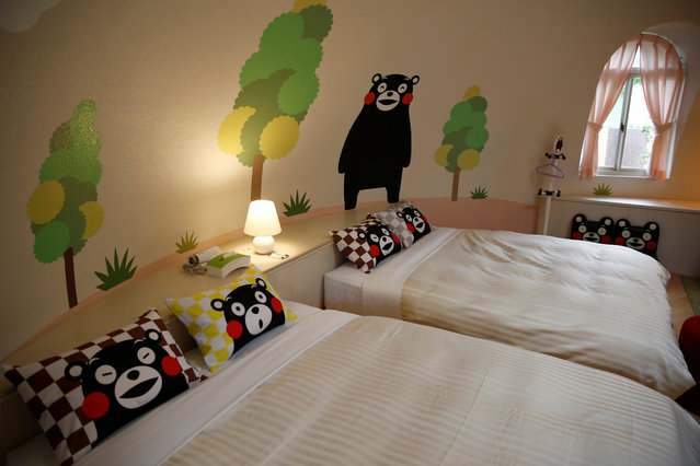 """Interior of a quake-resistant dome house decorated with Japan's popular """"Kumamon"""" bear character is pictured at the Aso Farm Land resort. """"These dome rooms were completely unharmed"""", Konishi told Reuters. """"Not a single pane of glass broke"""". Wind and earthquakes do not easily damage the dome houses because they have no beams that can be broken, Konishi said. (Photo by Kim Kyung-Hoon/Reuters)"""