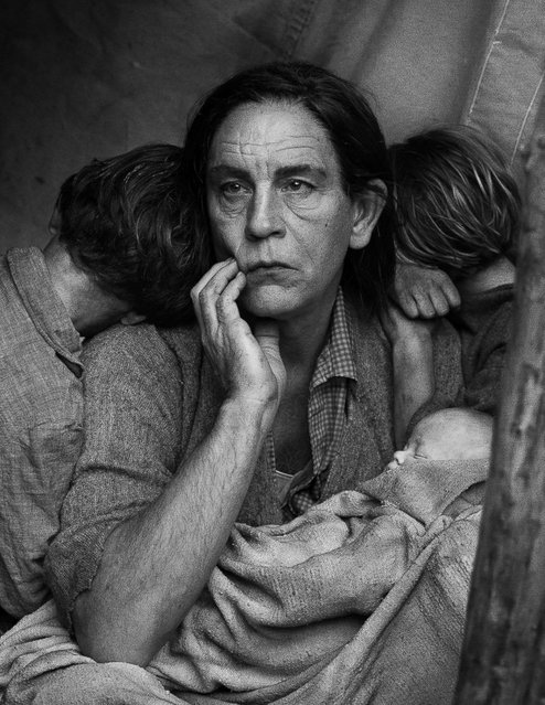 "John Malkovich is seen in a re-creation of Dorthea Lange's 1936 photo, ""Migrant Mother"". Sandro Miller spent eight months researching the images, but the entire Malkovich Sessions series was shot in three days. (Photo by Sandro Miller/Catherine Edelman Gallery)"