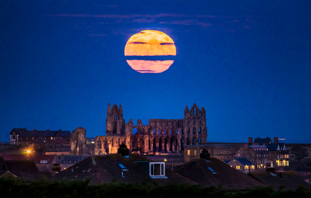 The Supermoon rises above Whitby Abbey in Yorkshire, England on December 3, 2017. (Photo by Danny Lawson/PA Images via Getty Images)