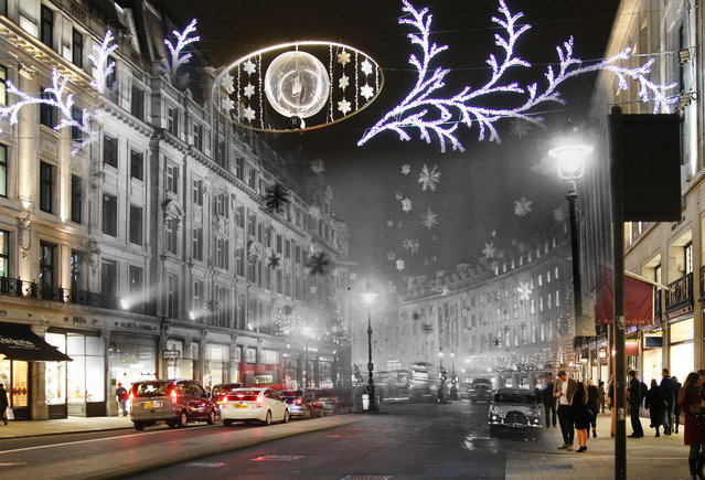 Archive: Christmas decorations consisting mainly of snow crystal stars made of aluminium to give the effect of a snowstorm are displayed on Regent Street on November 30, 1955 London, England.  (Photo by Keystone/Getty Images) Modern Day: Christmas shoppers walk along Regent Street on December 16, 2014 in London, England. (Photo by Peter Macdiarmid/Getty Images)