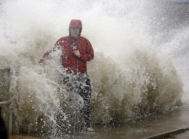 A news reporter doing a stand up near a sea wall in Cedar Key, Fla., is covered by an unexpected wave as Hurricane Hermine nears the Florida coast, Thursday, September 1, 2016. Hurricane Hermine gained new strength Thursday evening and roared ever closer to Florida's Gulf Coast, where rough surf began smashing against docks and boathouses and people braced for the first direct hit on the state from a hurricane in over a decade. (Photo by John Raoux/AP Photo)
