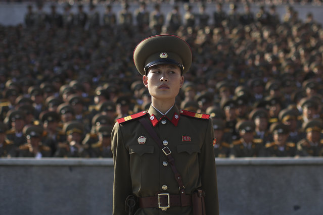 A soldier stands at a parade in Pyongyang, North Korea, Saturday, October 10, 2015. (Photo by Wong Maye-E/AP Photo)