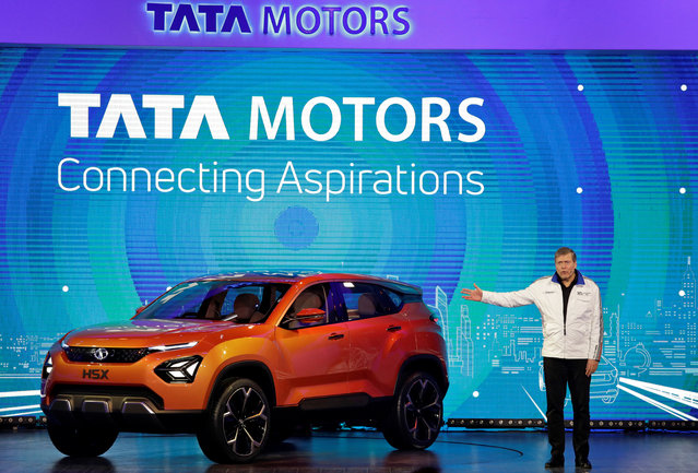 Guenter Butschek, CEO and Managing Director at Tata Motors, speaks at the launch of H5X SUV concept car at the India Auto Show 2018 in Greater Noida, February 7, 2018. (Photo by Saumya Khandelwal/Reuters)