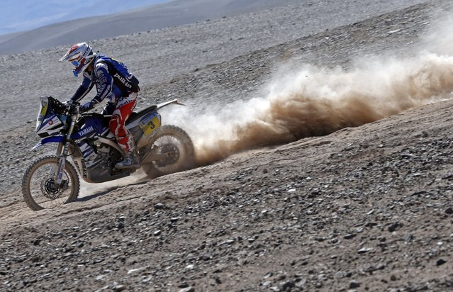 Yamaha rider Olivier Pain of France rides during the fifth stage of the Dakar Rally 2015, from Copiapo to Antofagasta, January 8, 2015. (Photo by Jean-Paul Pelissier/Reuters)