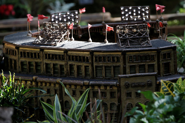 A scaled model of the New York's former Yankee Stadium built entirely with plant parts stands amid an exhibit during a media preview of the Holiday Train Show at the New York Botanical Garden in the Bronx borough of New York City, U.S., November 14, 2016. (Photo by Mike Segar/Reuters)