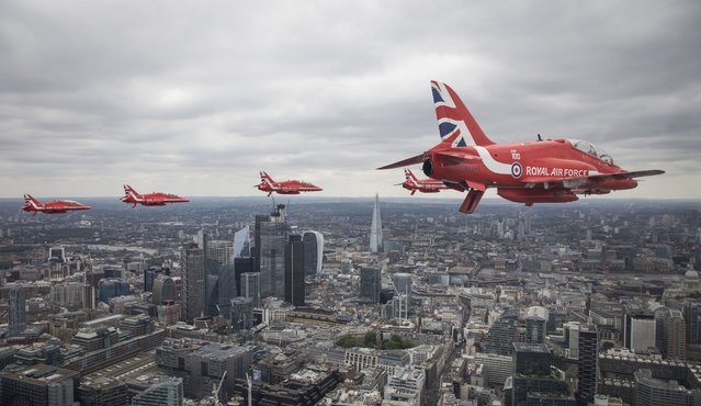 Ministry of Defence handout photo of the Red Arrows flying over central London as they take part in the  Royal Air Force flypast over central London to mark the centenary of the RAF on Tuesday, July 10, 2018. (Photo by SAC Rose Buchanan RAF/PA Wire)