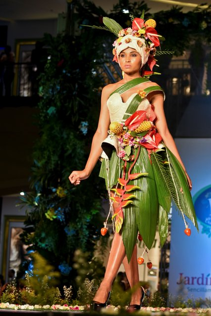 A model presents a creation by Colombian designers Carlos Giraldo and Elaine Cuja made with organic elements during BioFashion Show in Cali on November 19, 2016. (Photo by Luis Robayo/AFP Photo)