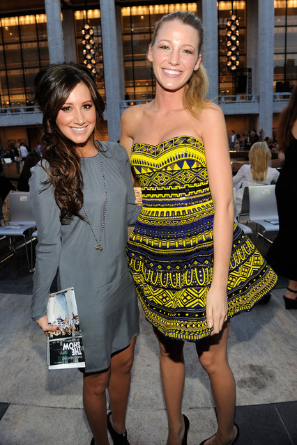 Ashley Tisdale and Blake Lively attends Fashion's Night Out: The Show at Lincoln Center on September 7, 2010 in New York City. (Photo by Kevin Mazur/Getty Images for Conde Nast)