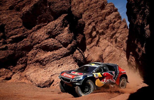 Stephane Peterhansel drives his Peugeot during the eighth stage in the Dakar Rally 2016 near Cafayate, Argentina, January 11, 2016. (Photo by Marcos Brindicci/Reuters)