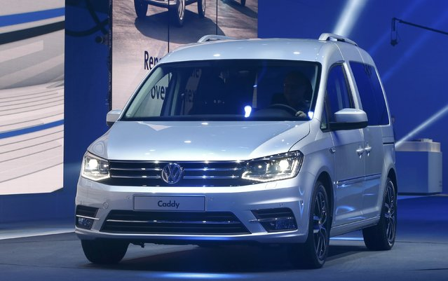 The new VW Caddy is pictured during a Volkswagen Group event ahead of the 85th International Motor Show in Geneva, March 2, 2015.              REUTERS/Arnd Wiegmann (SWITZERLAND  - Tags: TRANSPORT BUSINESS)