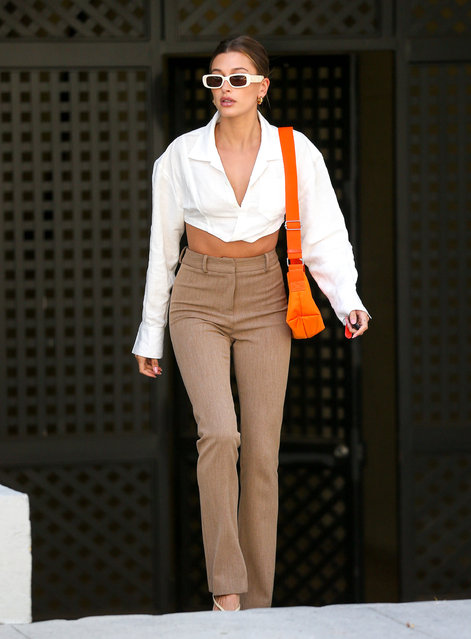 American model Hailey Bieber is seen in Los Angeles, California on May 4, 2021. (Photo by Bellocqimages/The Mega Agency)