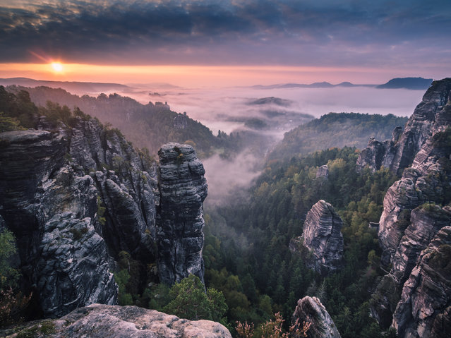"""Sunrise on the Rocks"". Saxon Switzerland. (Photo and caption by Andreas Wonisch)"