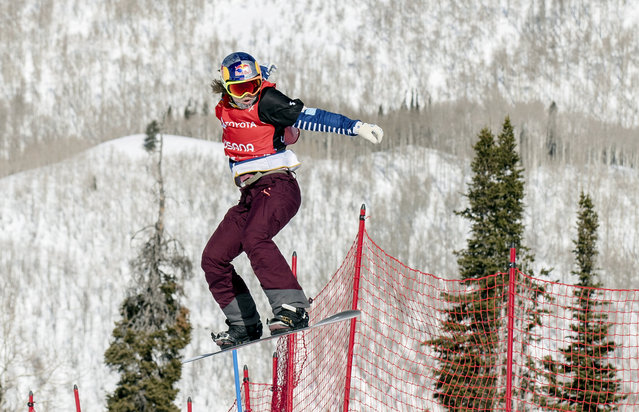 Eva Samkova, of the Czech Republic, clears a jump in the women's Snowboard Cross final at the Freestyle Ski and Snowboard World Championships, Friday, February 1, 2019, in Solitude, Utah. Samkova won the event. (Photo by Tyler Tate/AP Photo)