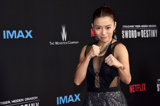"""Actress JuJu Chan attends the premiere of Netflix's """"Crouching Tiger, Hidden Dragon: Sword Of Destiny"""" at AMC Universal City Walk on February 22, 2016 in Universal City, California. (Photo by Mike Windle/Getty Images)"""