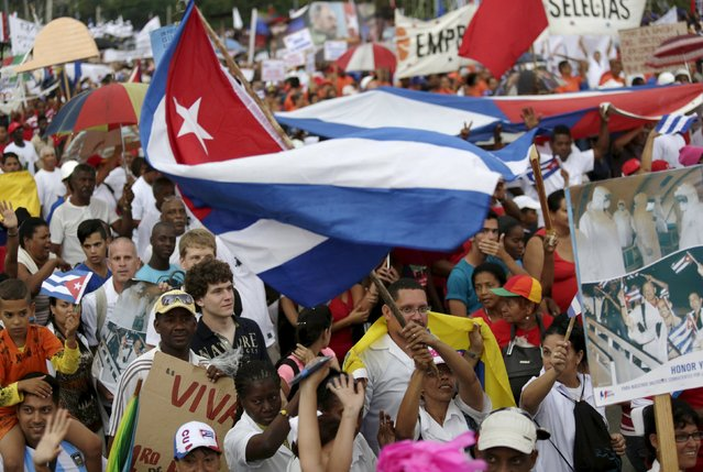 Cubans take part in a May Day parade in Havana May 1, 2015. (Photo by Enrique De La Osa/Reuters)
