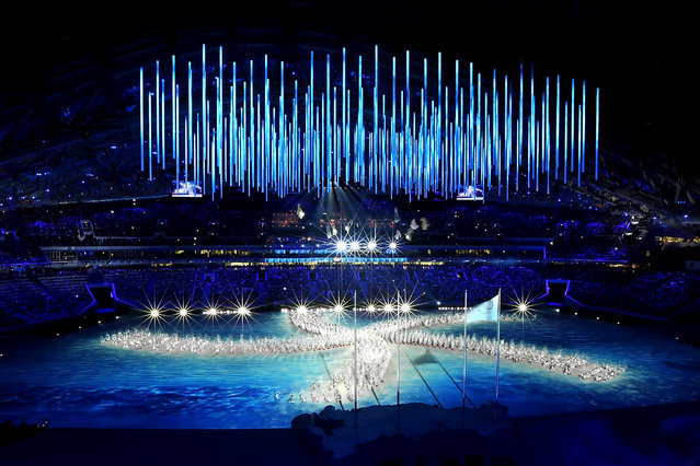 A general view of the inside of Fisht Stadium during the 2014 Sochi Winter Olympics Closing Ceremony at Fisht Olympic Stadium on February 23, 2014 in Sochi, Russia.  (Photo by Joe Scarnici/Getty Images)