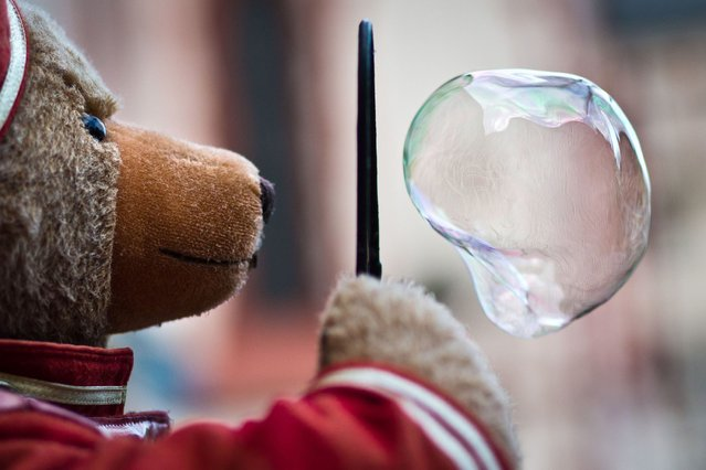 A plush teddy makes a soap bubble on February 23, 2014 in Frankfurt am Main, central Germany. (Photo by Frank Rumpenhorst/AFP Photo/DPA)