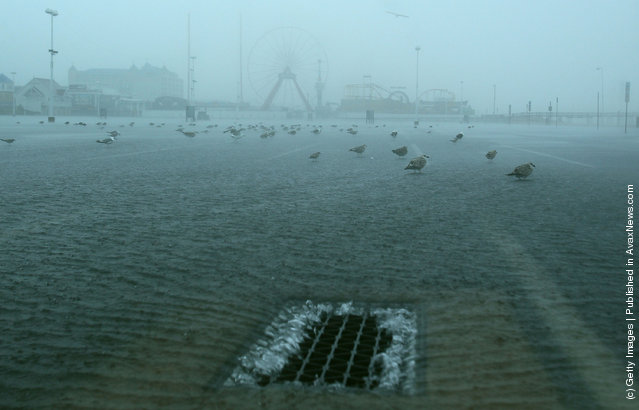 Water in a parking lot enters a storm drain as winds and high tides from approaching Hurricane Irene