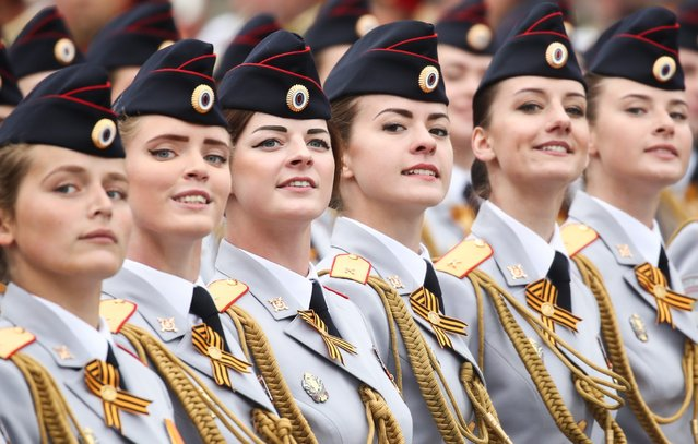Servicewomen march in formation during a Victory Day military parade marking the 74th anniversary of the victory over Nazi Germany in the 1941-1945 Great Patriotic War, the Eastern Front of World War II, in Moscow's Red Square, Russia on May 9, 2019. (Photo by Valery Sharifulin/TASS)