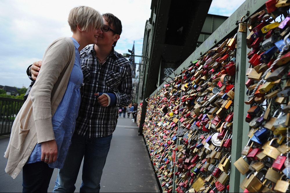Thousands of Love Locks Hang at Cologne Bridge