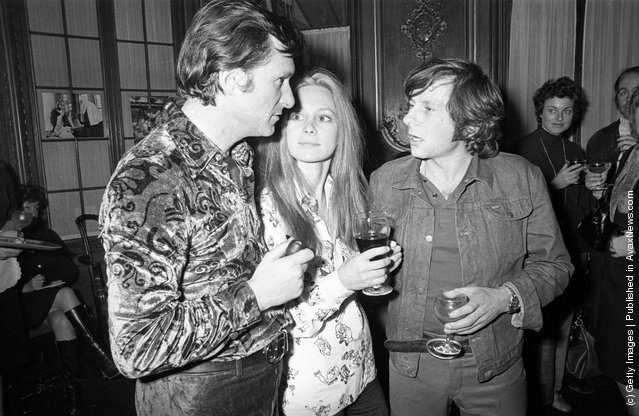 1971: Roman Polanski talking to Hugh Hefner, owner of the Playboy empire, who has sponsored his latest film 'Macbeth' which stars Francesca Annis (centre)