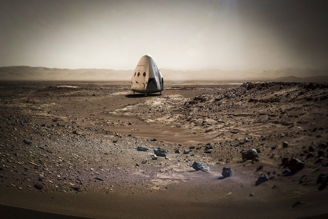 A SpaceX dragon capsule is shown on the surface of Mars in this artist's concept photo provided April 27, 2016. Elon Musk, the company's billionaire founder and chief executive, announced Wednesday via Twitter that he plans to send a Dragon capsule to land on the red planet as early as 2018. It would represent a big first step toward his ultimate goal of colonizing the red planet. The Mars spacecraft will be called Red Dragon, Musk said. No astronauts will accompany Red Dragon on this first test flight. Musk said the upgraded Dragon is designed to land anywhere in the solar system. (Photo by Reuters/SpaceX)