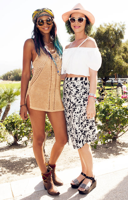 Model Chanel Iman and Recording Artist Katy Perry attend the Spotify Brunch at Soho Desert House with Bacardi Day 2n April 12, 2014 in La Quinta, California. (Photo by Michael Bezjian/Getty Images for Soho House)